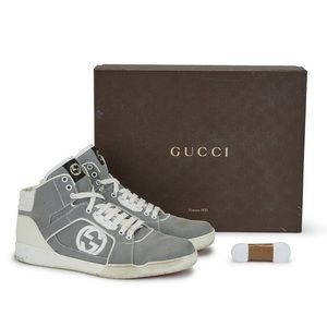Authentic Rare Gucci Gray Men's High Top Sneakers